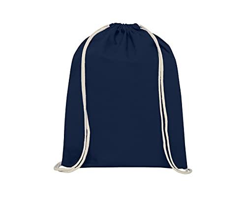 KIESENBERG Sacca da palestra in cotone, 140 g, vuota/non stampata in diversi colori, sacchetto in tessuto con chiusura a coulisse, Blu scuro, S