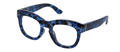 Peepers by PeeperSpecs Women's Bravado Oversized Reading Glasses, Navy Tortoise - Focus Blue Light Filtering Lenses, 49 mm + 1.5