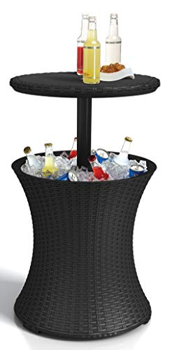 Keter Pacific Cool Bar Outdoor Patio Furniture and Hot Tub Side Table with 7.5 Gallon Beer and Wine Cooler, Grey