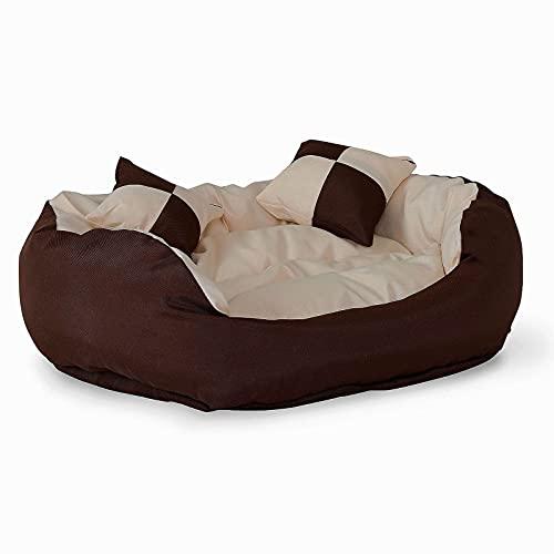 lionto by dibea Letto per cani cuscino per cani tessuto Oxford 4-in-1 design (S) 65x50 cm marrone/beige