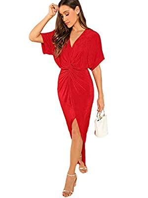 ★Size: Please refer to our size measurement (not Amazon) ★Fabric: Super stretch, thin but do not see through, pretty comfortable ★Design: Flattering twist knot front, v neck, split front, off shoulder sleeve ★Occasion: Suitable for club, nightclub, p...