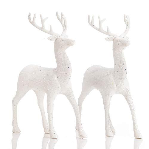 "ARCCI Standing Reindeer Decorations Christmas Deer Figurines, 8.6"" x 12"" White Reindeer Figure for Table top Shelf Office Desk Winter Decor - Pack of 2"