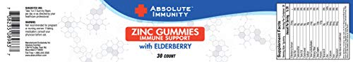Absolute Immunity- ZINC and Elderberry Gummies - Immune System Health - Adults and Kids 30ct 2