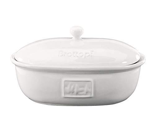 CreaTable Brottopf TOSCANA oval 38 cm aus Steingut weiß glasiert/Brotbehälter/Vorratstopf