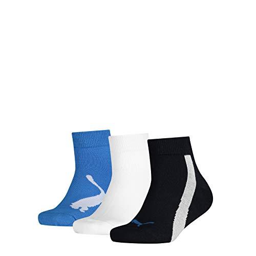 PUMA Kids' BWT Quarter Socks (3 Pack) Calzini, Navy/White/Strong Blue, 31-34 (Pacco da 3) Unisex-Bambini
