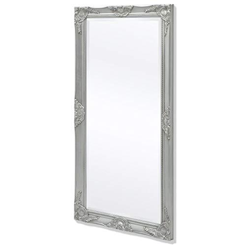 Festnight Wandspiegel im Barock-Stil Spiegel Flurspiegel Frisierspiegel Barockspiegel 120x60 cm Silberfarben