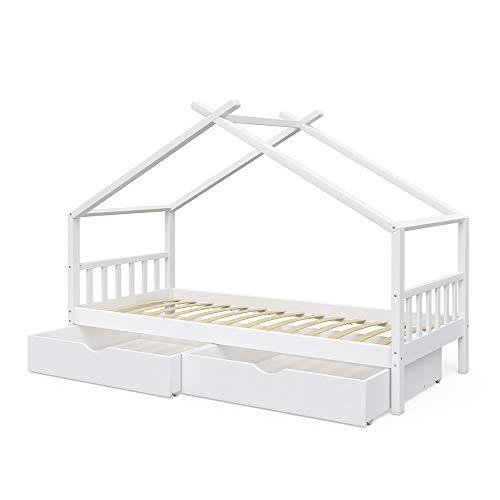 VitaliSpa Kinderbett Hausbett Design 90x200cm INKL SCHUBLADEN Kinder Bett Holz Haus Schlafen Hausbett Spielbett Inkl. Lattenrost (Weiß lackiert)