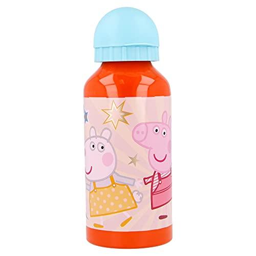 Peppa Pig | Botella De Aluminio Para Niños - Cantimplora infantil - Botella de agua reutilizable - 400 ML
