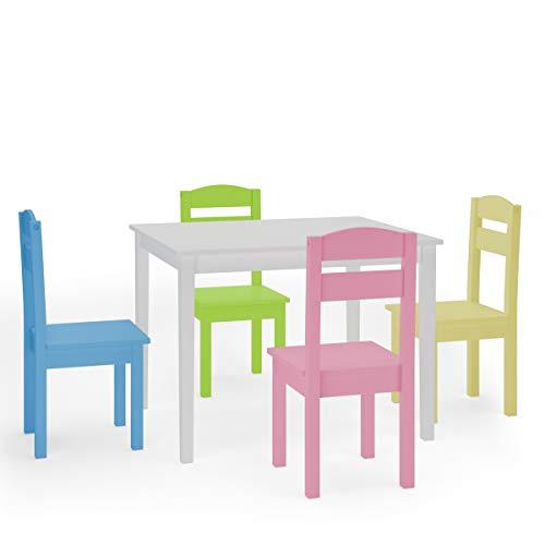 COSTWAY 5 TLG. Kindersitzgruppe, Kindertischgruppe, Kindertisch mit 4 Stühlen, Kindermöbel aus Kiefer, Holzsitzgruppe für Mädchen und Jungen (Weiß)