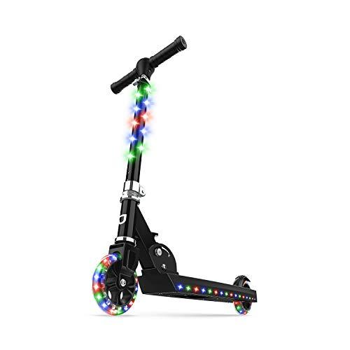 Jetson Electric Bike Jupiter Folding Kick Scooter, LED Light-Up, Adjustable Handle Bar, for Kids Ages 5+ , Black