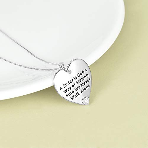 YFN Sister Gifts from Sister, Sterling Silver Sister Pendant Necklace Jewelry, Birthday Jewelry Gift Necklaces for Sisters
