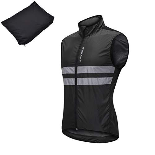 反射ベスト 自転車 撥水 ウインドブレーカー サイクルジャケット袖なし ノースリーブ サイクルベスト メン...