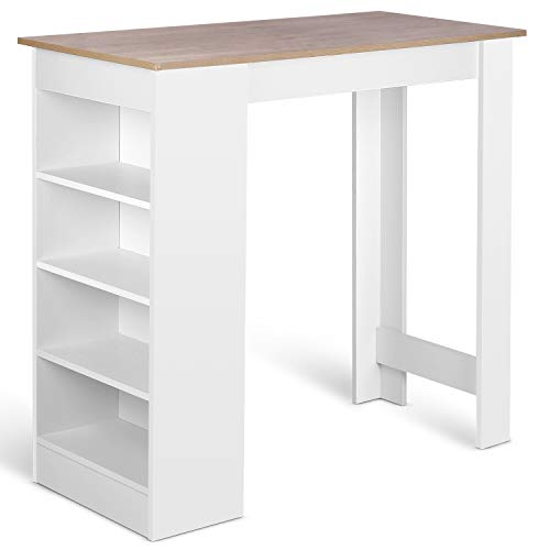 amzdeal Bartisch Weiß, Küchentheke Küchenbartisch mit 4 Regale, Beistelltisch Holz, Stehtisch Tresentisch für Küchen Tresen, 112x50x103.5cm