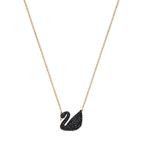 Swarovski Pendente Iconic Swan, Cristallo Nero, Placcato Nella Tonalità Oro Rosa, da Donna