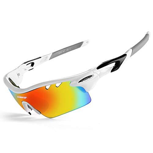 INBIKE Occhiali da Sole polarizzati da Ciclismo per Uomo (Bianco)