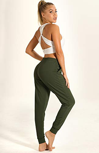 icyzone Women's Active Joggers Sweatpants - Athletic Yoga Lounge Pants with Pockets (Army, L) 5