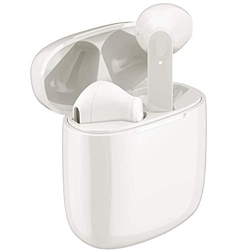 Casques et écouteurs sans Fil Bluetooth avec réduction de Bruit,Bluetooth écouteurs Sportifs avec Écouteurs stéréo étanches dans l'oreille Intégré HD Mic Casques White