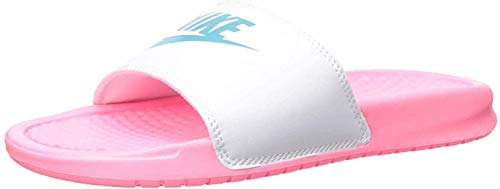 Nike Women's Benassi Just Do It. Sandal, Zapatos de Playa y Piscina para Mujer, Multicolor (Sunset Pulse/Teal Nebula-White 616), 38 EU