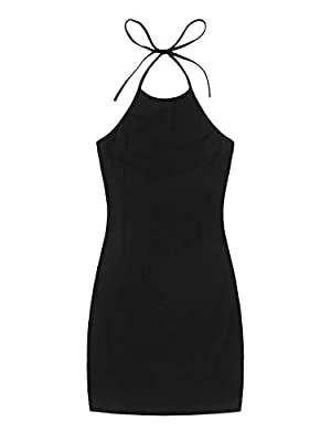 Made of stretch cotton material, No see-through Short length, halter neckline, sleeveless, split hem, bodycon fit, mini solid pencil dress Casual, basic sexy dress. Suitable for party, cocktail, club, night out bar and daily life. Plain pencil dress,...