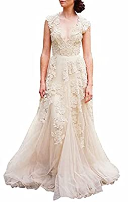 ★Design & fabric: Tulle, applique, with lining. A-line design. V neck sweep train. ★Size: PLEASE refer to our size chart, our dress is true to the size. Our size chart may varifies from the one you used before, so please CHECK OUT and pick a closest ...