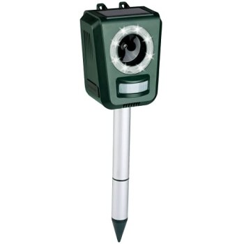 Répulsif Chat Exterieur, Répulsif à Ultrasons avec Batterie, Chargement Solaire et USB pour Empêcher Les Oiseaux, Les Chiens, Les Chats, etc