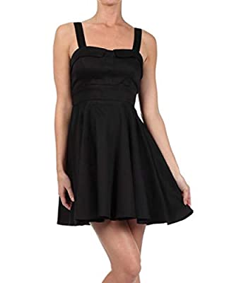Made in USA, Available In Red, Black and Blue Junior grading, Zipper in back, Sleeveless Sweetheart neckline, Fixed straps Tie in back, Falls above knee Material: 97% cotton, 3% spandex Machine Wash Cold Water, No Bleach , Hang to Dry