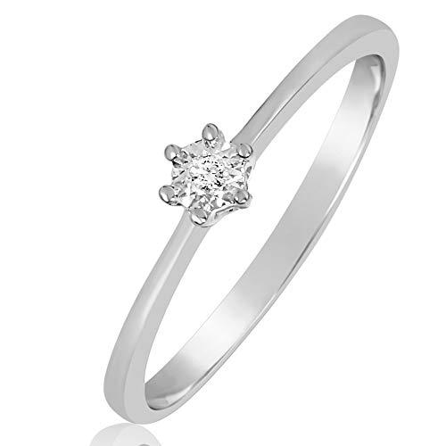 MILLE AMORI ∞ Anillo Mujer Compromiso Oro y Diamantes - Oro Blanco 9 Kt 375 ∞ Diamantes 0.01 Kt (10)