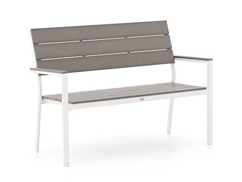 Bellagio Stabile Bravo Gartenbank 2 Sitzer   Aluminium Gartenbank 128 cm, Sitzbank für Garten oder Balkon   Wetterfest, pflegeleicht und Zeitloses Aussehen (Weiß, Grau, Kunststoff)