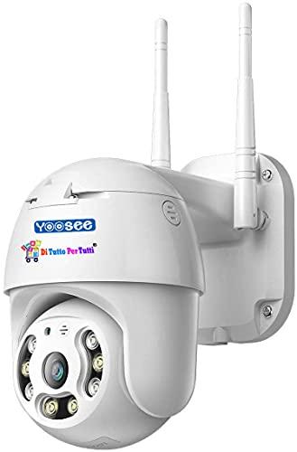 Di Tutto Per Tutti Telecamera IP Per Esterno PTZ Full HD 1080p Wireless Visione Notturna Audio IN/OUT Per Videosorveglianza Con APP YOOSEE