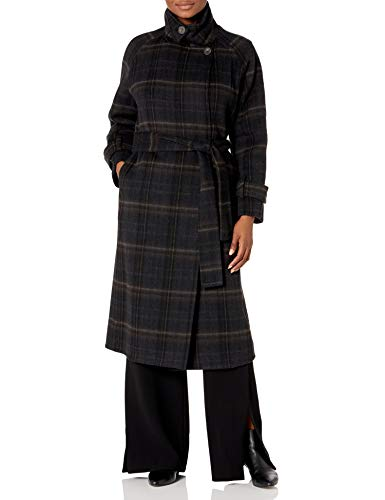 31obUg6Gy+L Our belted plaid overcoat is rendered in a plush double face wool-alpaca blend and features a funnel neck that can be closed for added warmth. Belted Lined.
