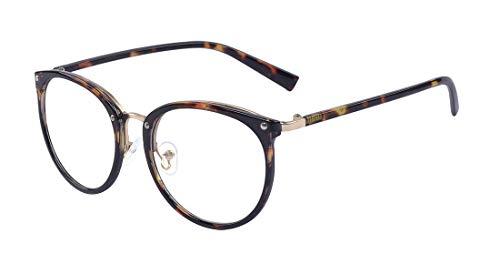 ALWAYSUV Retro Fashion Klassische Brille mit rundem Druck Metall Vollrahmen-Gläser mit klarer Linse für Frauen/Männer
