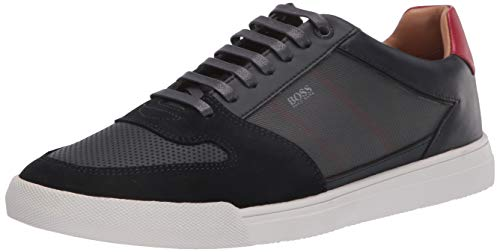 Hugo Boss BOSS Green Men's Leather Small Logo Sneaker, Dark Blue, 42 M EU (8.5 US)