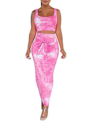 Good Quality: This summer 2 piece outfits are made of soft and breathable fabric, comfortable and lightweight to wear. Feature: Tank crop top,midi-skirt,two pieces set,tie dye printed, backless, slim fit, high waisted skirts, club party 2 piece midi ...