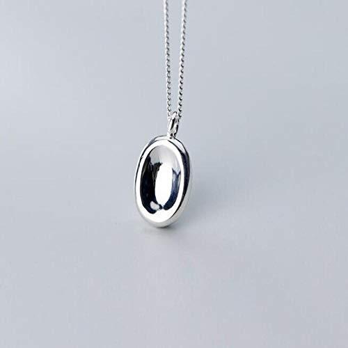 LLCF jewelry★S925 Sterling Silber Halskette Frau Kleine Frische Halskette Konkaven Ovalen Anhänger Schlüsselbein Kette Chain1Pc Silber