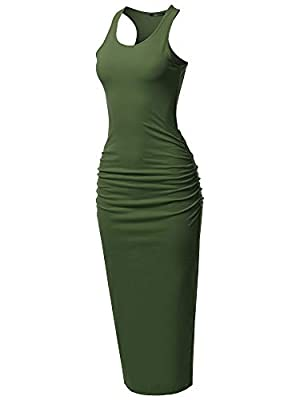 #SDR003 - Classic Shirring Racerback Tank Maxi Dress with Plus Size Features Stretchy Cotton Material, Shirring Hem, and Bodycon Maxi Dress Stretchy, Soft, and comfy with Affordable Price Machine wash in cold water; hang to dry; do not bleach Color d...