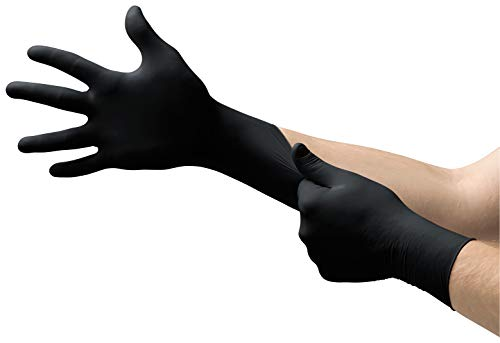 Microflex MK-296 Black Disposable Nitrile Gloves, Latex-Free, Powder-Free Glove for Mechanics, Automotive, Cleaning or Tattoo Applications, Medical / Exam Grade, Size Small,  Box of 100 Units