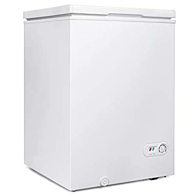"""【Chest Freezer Dimensions】: 3.5 cubic feet free standing Chest Freezer, Measures: 21.18""""(W)*21.77""""(D)*30.94""""(H). Compact Freezer is saving space design. Large Capacity is Great using for breast milk, meat, aquatic products, cold drinks, quick-freezin..."""