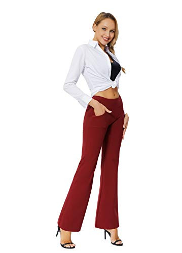 Women's Bootcut Yoga Pants Workout Wide Leg Flared Bell Bottom Loose Fit Overalls Yoga Pants for Women,Red,XL 7