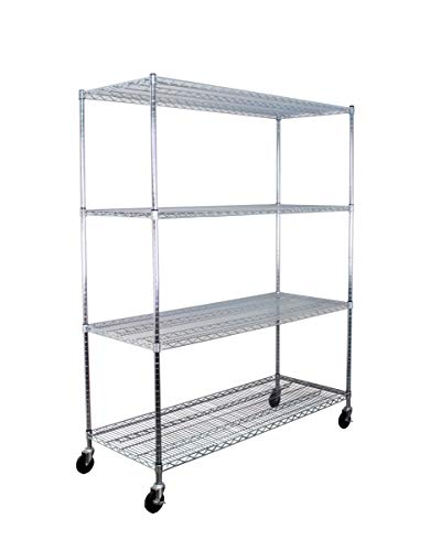 SafeRacks NSF Certified Commercial Grade Adjustable 4-Tier Steel Wire Shelving Rack with 4' Wheels - 24' x 60' x 72' (24'x60'x72' 4-Tier)