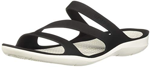 crocs 203998, Chanclas Mujer, Negro (Black/White), 39/40 EU (W 9 US)