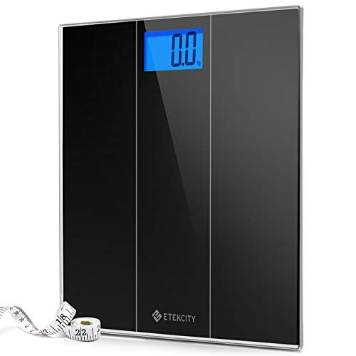 Etekcity Digital Body Weight Bathroom Scale with Step-On Technology, 400 Pounds, Body Tape Measure Included, Elegant Black (12 inch x 12 inch upgrded Platform)
