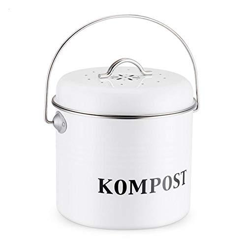 KEIBODETRD 5L-Kompostbehälter, Retro-Kücheneimer mit Deckel, Innen-Mülleimer-Kohlefiltereimer, Mülleimer-Wächter-Containereimer