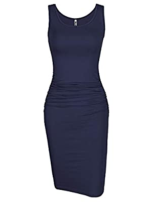 US Size:XS (US 0-2 ),S (US 4-6 ),M (US 8-10 ),L (US 12-14 ),XL (US 16-18 ) Features:sleeveless, scoop neck,knee length, shirring details at the sides,casual style,plain dress,slim fit,elegant Farbic:95%cotton+5%polyester,lightweight,stretchy,soft,reg...