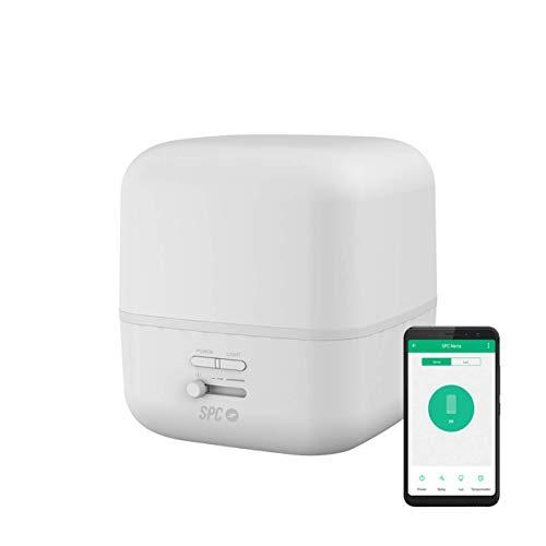 SPC Nerta- Difusor de Aromas, Humidificador, Purificador de Aire y Lámpara de Noche Smart Wi-Fi (400Ml, 11-26 Horas de duración, 7 Colores LED, Control Remoto Mediante App IoT