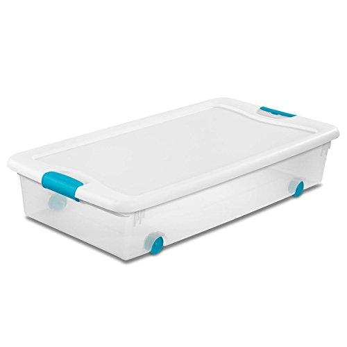 Sterilite 56 Qt./53 L Wheeled Latching Box Clears, Quart, White, 4 Piece