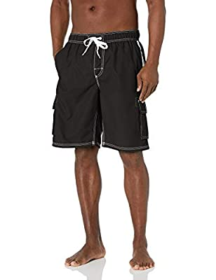 "Swim trunk featuring elasticized waistband with drawstring and contrast side stripes Cargo pockets at side 11"" inseam Special size type: standard"