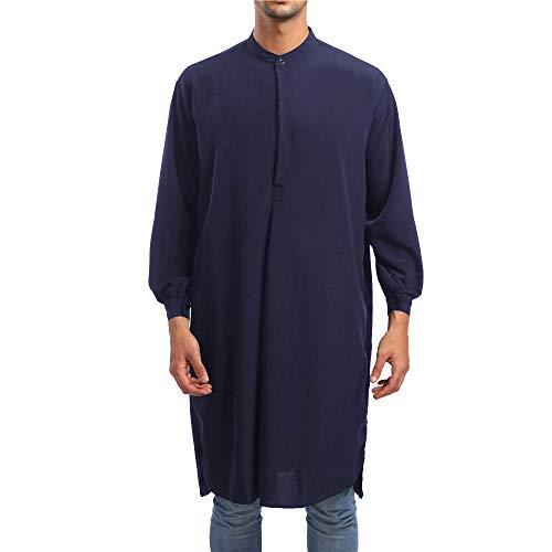 NEEKY Camicia da Uomo a Maniche Lunghe a Maniche Lunghe con Scollo a V a Maniche Lunghe in Stile Casual (Navy, XL)