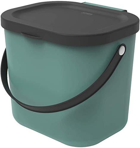 Rotho Albula, Cubo de basura biológica de 6 litros con tapa y asa para la cocina, Plástico PP sin BPA, verde oscuro, antracita, 6l 23.5 x 20.0 x 20.8 cm