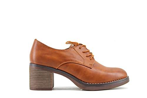 Modelisa - Zapatos Blucher Tacon Ancho Mujer (Camel, Numeric_40)