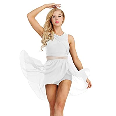 Women adult Asymmetric sleeveless leotard dance dress, pull on closure Scoop neckline and cut out at back, attached 1 layer chiffon skirt with front slit Good stretchy fabric, super soft and smooth, breathable, comfortable to wear Suitable for dance ...